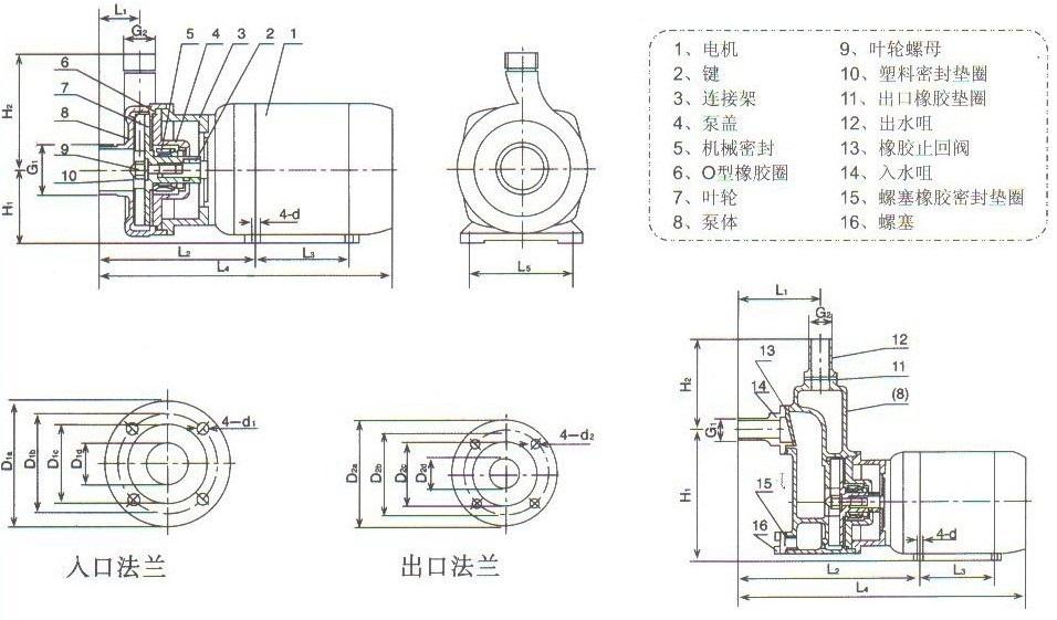小型不锈钢自吸泵SFBX型尺寸 图小型不锈钢自吸泵SFBX型