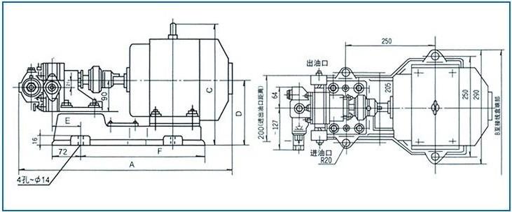 2CY型齿轮油泵外形尺寸